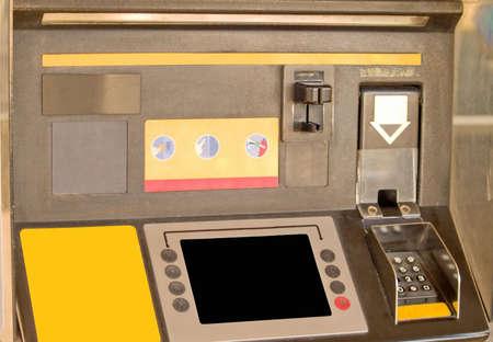 Close up of a Self service machine in service station photo