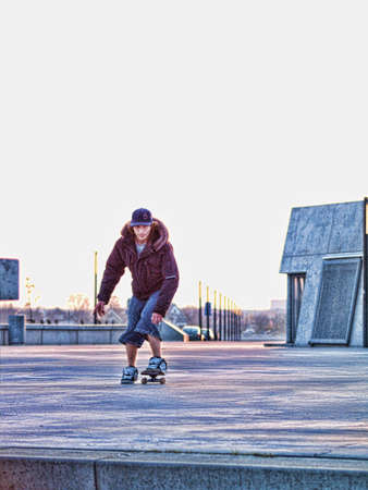 lining up: Modern day skateboarder lining up for a jump - Enhanced Digitally