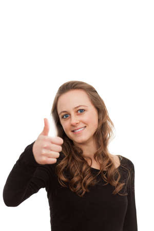 Good job!! Cute woman giving you a thumbs up on white Stock Photo - 6420700