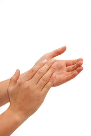 clap: Hurra! Human hands clapping on white background Stock Photo