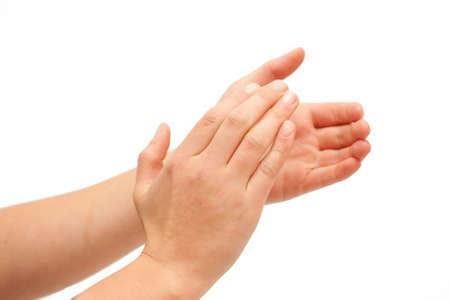 mani unite: Mettere le mani insieme! -Le mani battimani su sfondo bianco Archivio Fotografico
