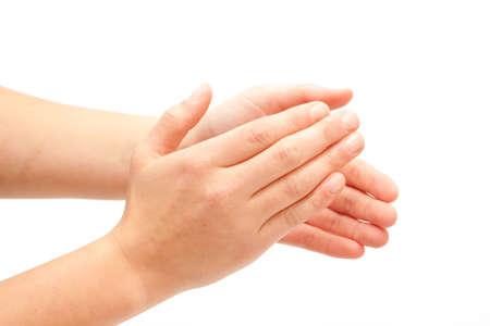 aplaudiendo: Palmas! Manos femeninas Palmas sobre fondo blanco Foto de archivo