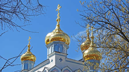 domes: Church domes on blue spring sky. (2016) Stock Photo