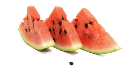 biggest: Isolated slices of Watermelon. The biggest berry. Stock Photo