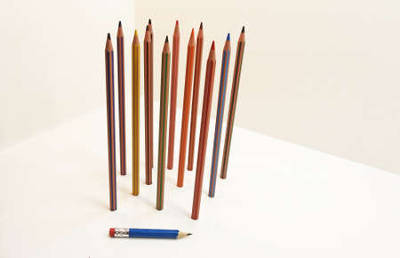 Colored pencils located vertically. Isolated on white background. 版權商用圖片