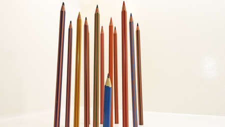 Colored pencils located vertically. Isolated on white background. 版權商用圖片 - 70925959