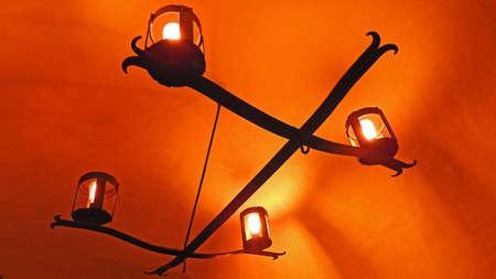 dusty: Old dusty lights bulb glowings in the dark Stock Photo