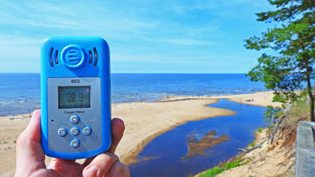 Oxygen level in air near Baltic sea. Stock Photo