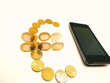 card making: Smartphone on white background with some coins