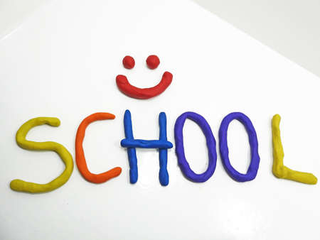 phrase: Back to school phrase made from plasticine.