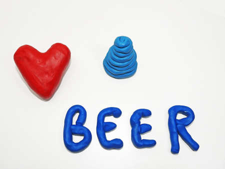 made in belgium: I love beer made from plasticine isolated on white background.