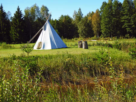 wigwam: White wigwam on green field on forest background.