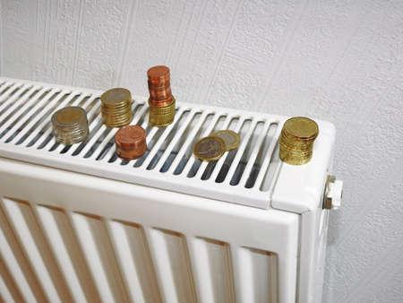 communal: Money for utility bills on white battery