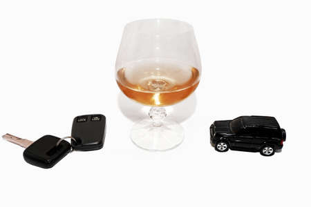 Abstract composition of drink driving. Isolated on white background. Stock Photo