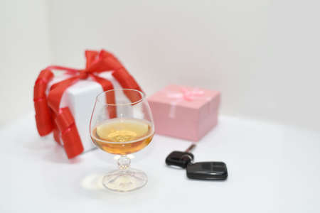 drunk test: Abstract composition of drink driving. Isolated on white background. Stock Photo