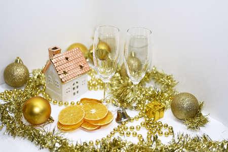 Cristmas: Golden Christmas decoration. Isolated on white background. Stock Photo
