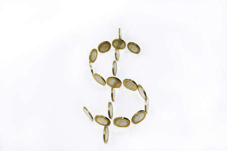 Dollar symbol build from coins on white background Stock Photo
