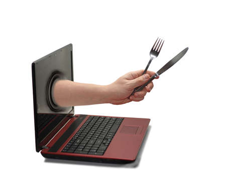 Hand from Laptop. Stock Photo