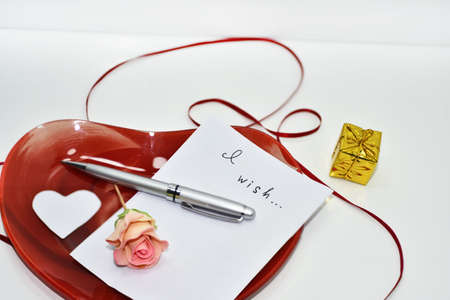 Abstract idea of Valentine day. What to buy as a gift - that is a question.