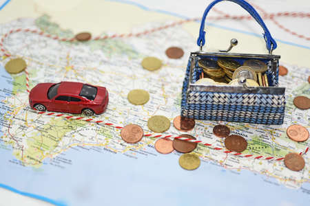 map case: Traveling money spending. Abstract composition of travel money saving.