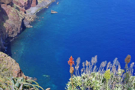 A view of the ocean from the Madeira mountains Stock Photo