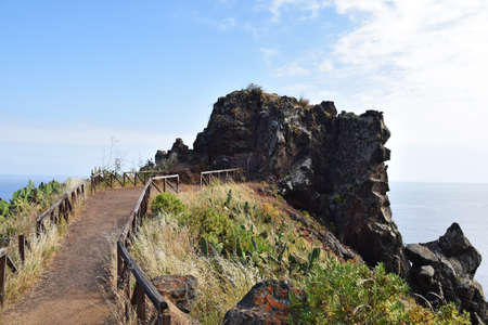 A view of the ocean from the high mountains of Madeira