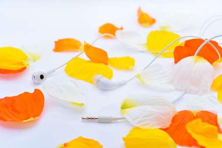 music lyrics: Abstraccion de musica Textura de otoño con auriculares blancos