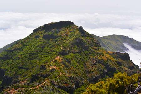 The highest Madeira island mountain Pico Ruivo. Sunny summer day.