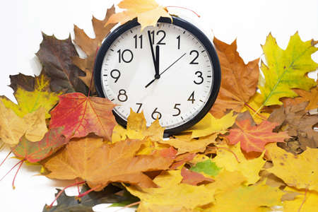 Isolated electronic wall clock. Autumn abstraction. Fall back time.