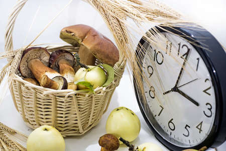 Autumn abstract composition. Apples and mushrooms with big clock on white background. Stock Photo