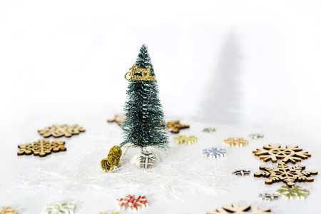 sell: Abstract Christmas composition. Christmas decorations on white table.