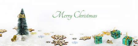 Abstract Christmas composition. Winter abstraction. Christmas decorations on white table with