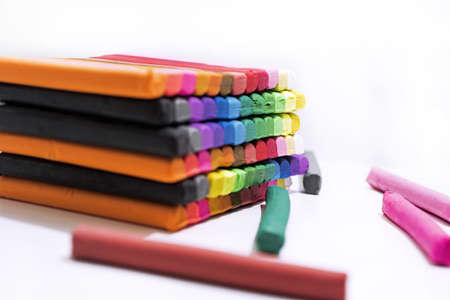 Abstract composition of making something from plasticine (play clay)