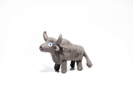 Funny gray Yak made from Play Clay