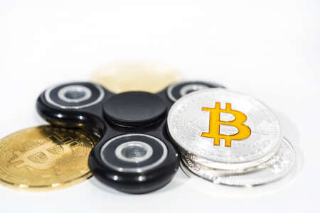 Abstract photo of cryptocyrrency. Some cryptocurrency coins. Isolated on white background.