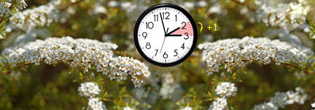 Daylight Saving Time. DST. Wall Clock going to winter time. Turn time forward. Abstract photo of changing time at spring. Stock Photo