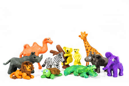 Play Clay World. Figures made from plasticine. Wild nature. Isolated on white background.