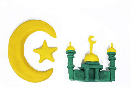 Symbols of Islam. Objects made from Play Clay. Abstract isolated photo. Stock Photo
