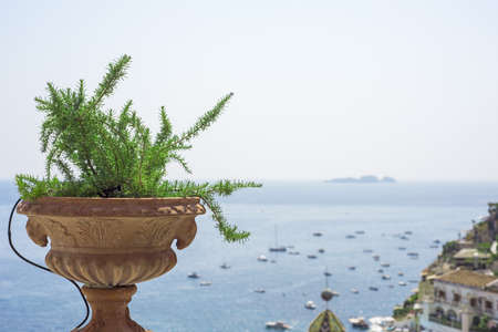 Panoramic view from balcony in Positano city. Banque d'images