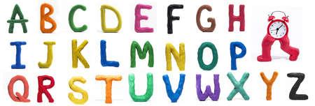 Latijns alfabet gemaakt van Play Clay. Hoge kwaliteit foto.