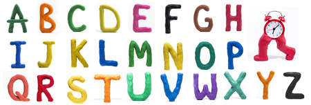 Latin Alphabet made from Play Clay. High quality photo. Imagens