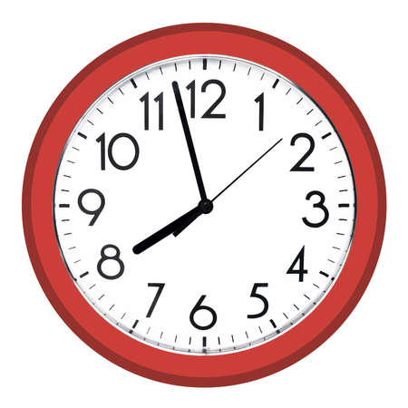 White wall clock. Isolated on white background. High quality photo. Stock Photo