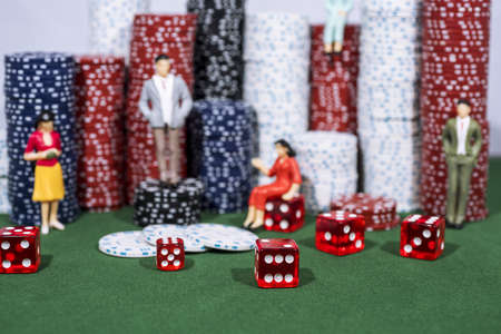 Casino abstract photo. Poker game on red background. Theme of gambling. Stockfoto