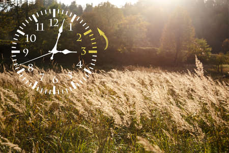 Autumn landscape abstraction. Fall back time. Daylight saving time. Stock Photo
