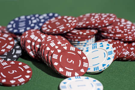 Casino abstract photo. Poker game on red