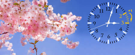 Wall Clock with flowers Stock Photo - 118473715