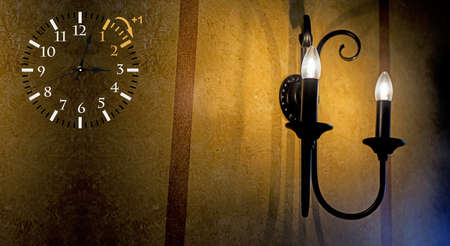 Wall Clock with wall lamp Stock Photo - 118473716