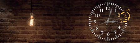 Wall Clock with wall lamp