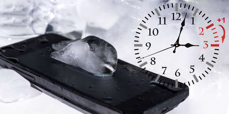 Wall Clock with smartphone Stock Photo