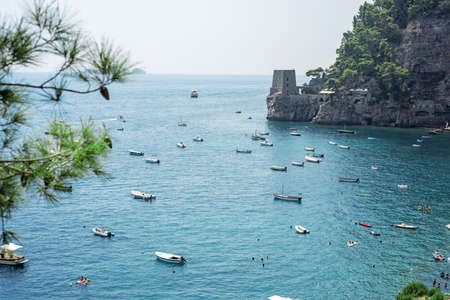 Positano, Amalfi Coast, Campania, Sorrento, Italy. View of the town and the seaside on sunny summer day.
